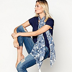 Mantaray - Ivory and blue woodcut bird print scarf