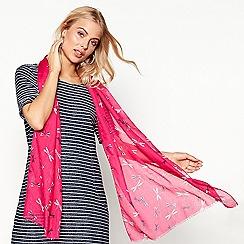Mantaray - Pink dragonfly print scarf