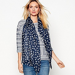 Mantaray - Navy geometric heart print scarf