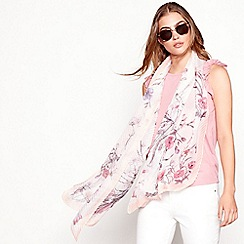 Mantaray - Ivory floral print pleated scarf