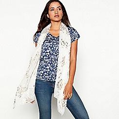 Mantaray - Ivory foil-effect blossom print scarf