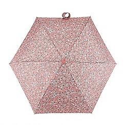 Totes - Coral ditsy floral print 'Compact Miniflat' umbrella