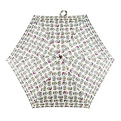 Totes - Natural elephants print 'Compact miniflat' umbrella