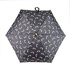 Totes - Multi-coloured finch birds print 'Compact Miniflat' umbrella