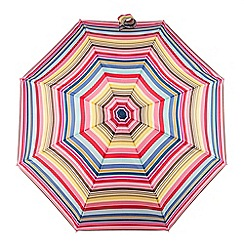 Totes - Multi-coloured stripe print 'Compact Miniflat' umbrella