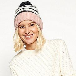 Faith - Ivory stripe knit pom pom hat