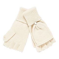 Faith - Ivory knitted hooded gloves