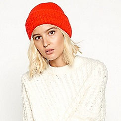 Faith - Red ribbed knit turn-up beanie hat