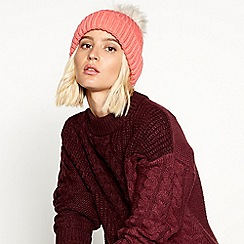 Faith - Pink fur pom pom hat