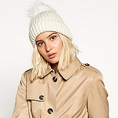 Faith - Ivory fur pom pom hat