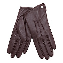 J by Jasper Conran - Dark red 3 point leather gloves