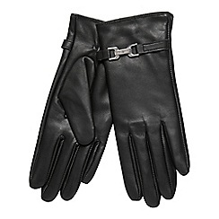 J by Jasper Conran - Black faux fur lined leather gloves