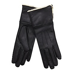 J by Jasper Conran - Black borg lined leather gloves