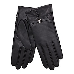 J by Jasper Conran - Black leather brand embossed gloves