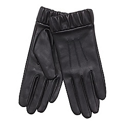 J by Jasper Conran - Black ruched cuff leather gloves