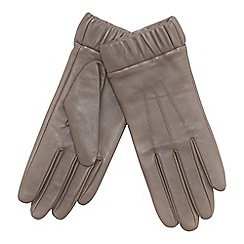 J by Jasper Conran - Taupe ruched cuff leather gloves