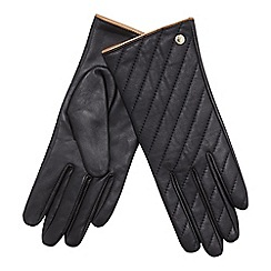 J by Jasper Conran - Black quilted leather gloves