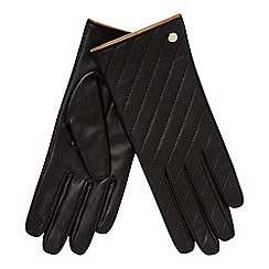 J by Jasper Conran - Black quilted leather gloves in giftbox