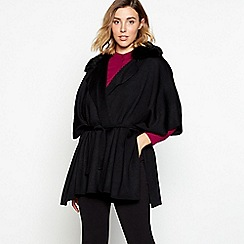 J by Jasper Conran - Black faux fur collar belted wrap