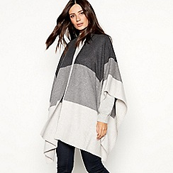 J by Jasper Conran - Grey colour block knitted shawl wrap