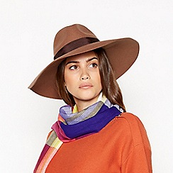 J by Jasper Conran - Camel felt wool fedora hat