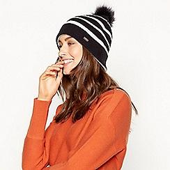 J by Jasper Conran - Ivory stripe pom pom hat