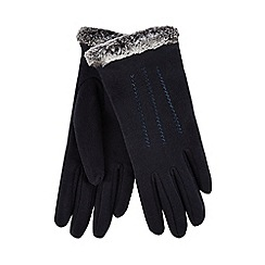 Isotoner - Navy faux fur thermal gloves