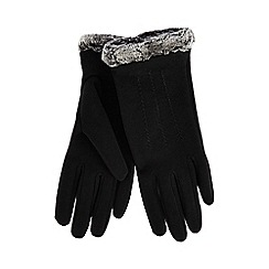 Isotoner - Black faux fur thermal gloves
