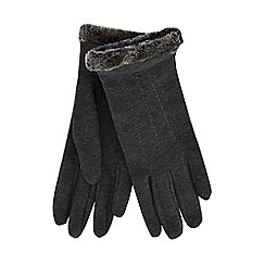Isotoner - Grey faux fur thermal gloves