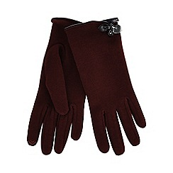 Isotoner - Red thermal invisible smart touch gloves with bow