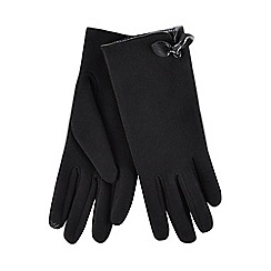 Isotoner - Black thermal invisible smart touch gloves with bow