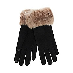 Isotoner - Black faux fur thermal invisible smart touch gloves