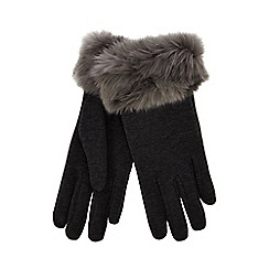 Isotoner - Grey faux fur thermal invisible smart touch gloves
