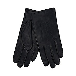 Isotoner - Navy leather invisible smart touch gloves