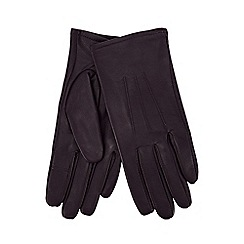 Isotoner - Plum leather invisible smart touch gloves