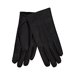Isotoner - Black leather invisible smart touch gloves