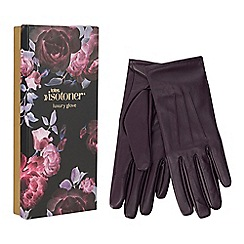 Isotoner - Isotoner plum 3 point leather gloves with smart touch