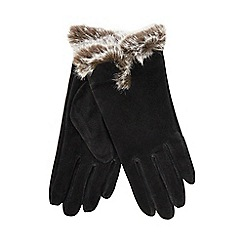Isotoner - Black suede gloves with fur spill