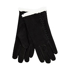 Isotoner - Black suede gloves with sherpa cuff
