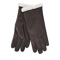 Isotoner - Grey suede gloves with sherpa cuff