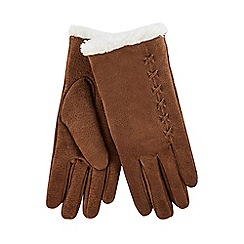Isotoner - Tan suede gloves with sherpa cuff