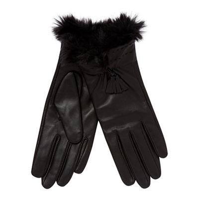 3b7b081e32 RJR.John Rocha Black faux fur cuff leather gloves