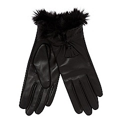 RJR.John Rocha - Black faux fur cuff leather gloves