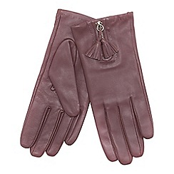 RJR.John Rocha - Dark pink front zip tasseled leather gloves