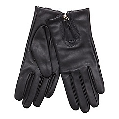 RJR.John Rocha - Black front zip tasseled leather gloves