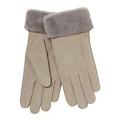 RJR.John Rocha - Grey 'Kid' suede lined leather gloves