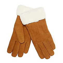 RJR.John Rocha - Tan suede faux-fur gloves