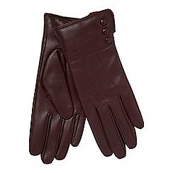 RJR.John Rocha - Dark red leather faux fur lined gloves