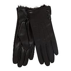 RJR.John Rocha - Black leather faux fur lined glove