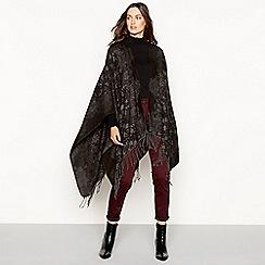RJR.John Rocha - Black floral knit poncho wrap